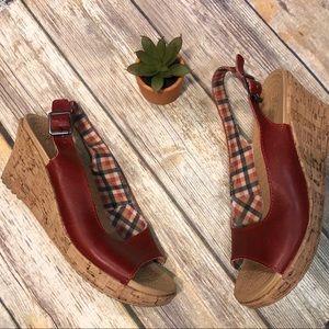 Crocs 11848 Brick Red Cork Wedge Sandals Women's 8